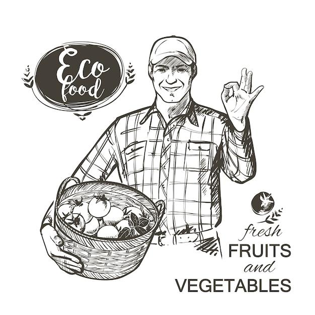 Agriculteur à casquette portant un panier rempli de tomates de légumes frais et d'herbes isolées illustration vectorielle Vecteur Premium