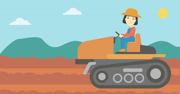 Agriculteur conduisant un tracteur Vecteur Premium