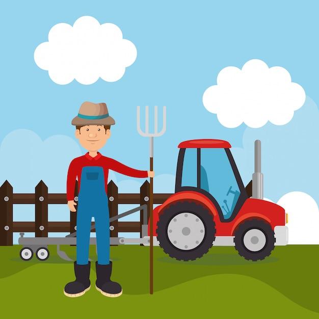 Agriculteur dans la scène de la ferme Vecteur gratuit