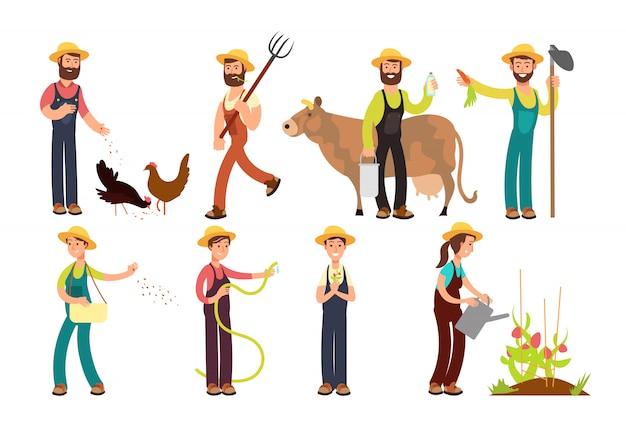Agriculteur de dessin animé et jardiniers avec outils et jeu de caractères d'animaux de ferme Vecteur Premium