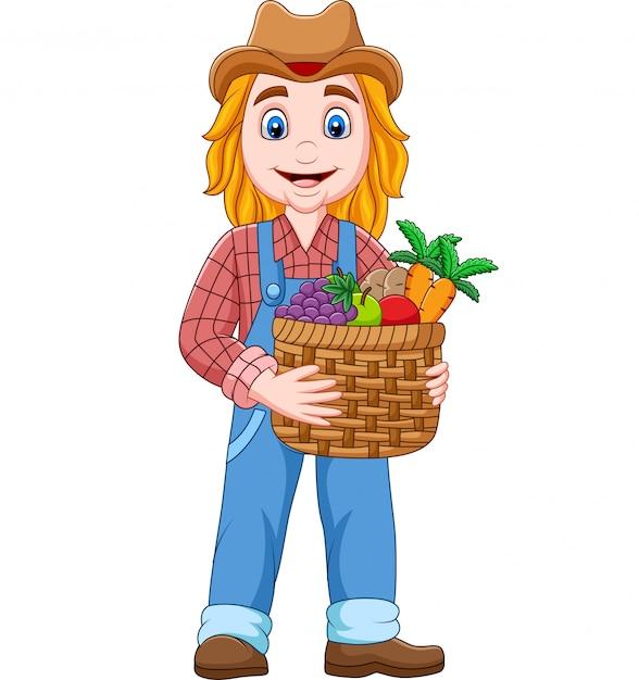 Agriculteur de dessin animé tenant un panier de légumes et de fruits Vecteur Premium