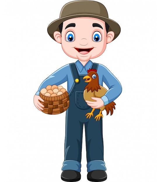 Agriculteur de dessin animé tenant la poule et un panier d'oeufs Vecteur Premium
