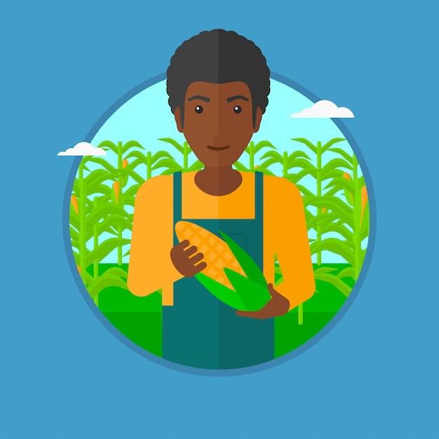 Agriculteur détenant illustration vectorielle de maïs. Vecteur Premium