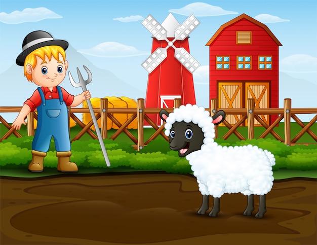 Agriculteur avec un mouton devant sa grange Vecteur Premium