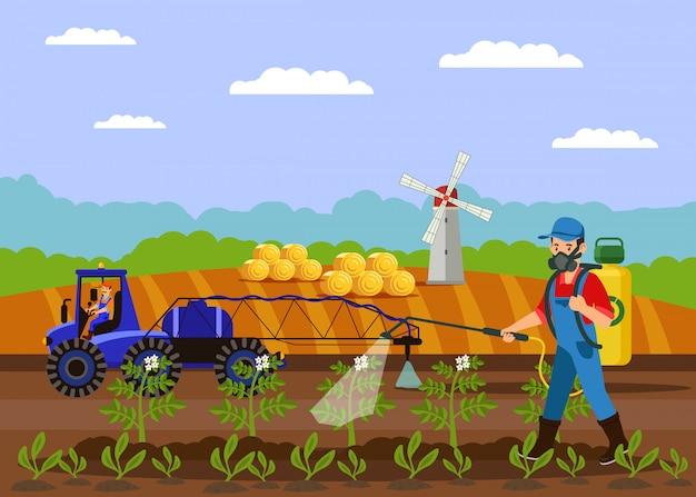 Agriculteur pulvérisation illustration vectorielle engrais Vecteur Premium