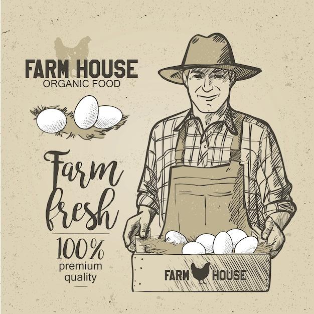 Agriculteur tenant une boîte de nourriture. des œufs. illustration vectorielle dans un style vintage. Vecteur Premium