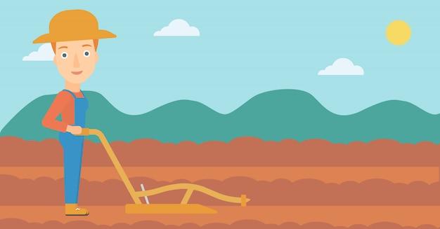 Agriculteur sur le terrain avec charrue Vecteur Premium