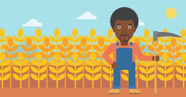 Agriculteur sur le terrain avec faux Vecteur Premium