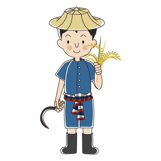 Agriculteur thaïlandais avec du riz Vecteur Premium