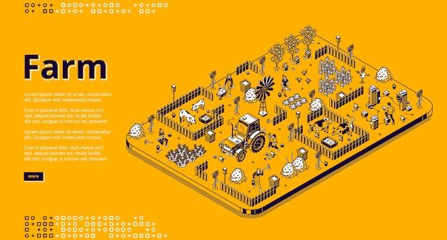 Agriculteurs D'illustration Isométrique De Ferme Travaillant Dans Le Jardin Ou Le Champ, Les Gens Utilisent Des Machines De Tracteur, Nourrissent Des Porcs Ou Des Vaches, Récoltent. Vecteur gratuit