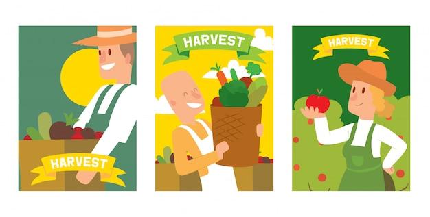 Les agriculteurs sélectionnant la récolte de légumes à des paniers et des boîtes ensemble de cartes, affiches. Vecteur Premium