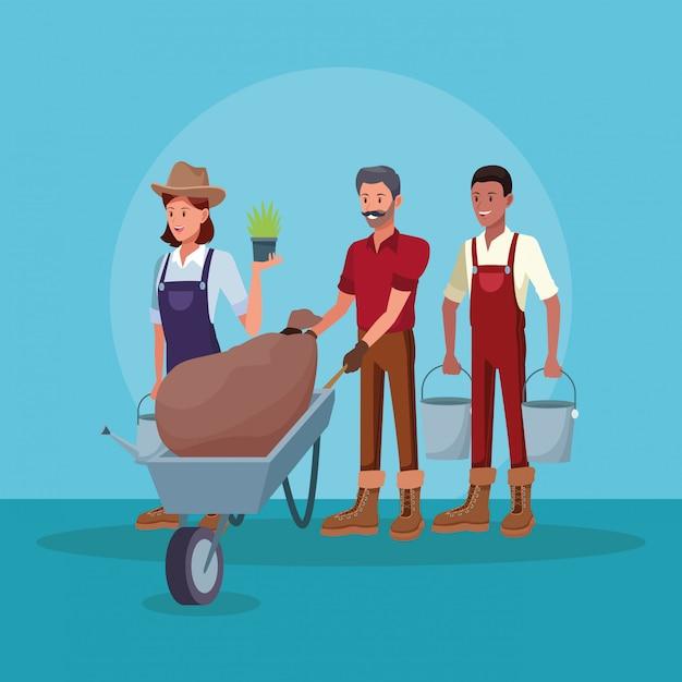 Agriculteurs travaillant dans des dessins animés agricoles Vecteur gratuit