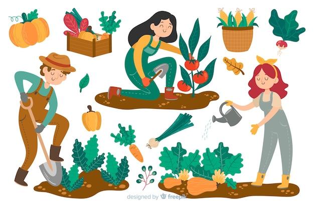 Agriculteurs travaillant sur le terrain Vecteur gratuit