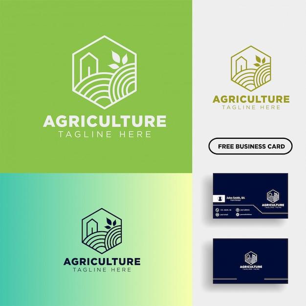 Agriculture eco ligne verte art logo modèle icône élément Vecteur Premium