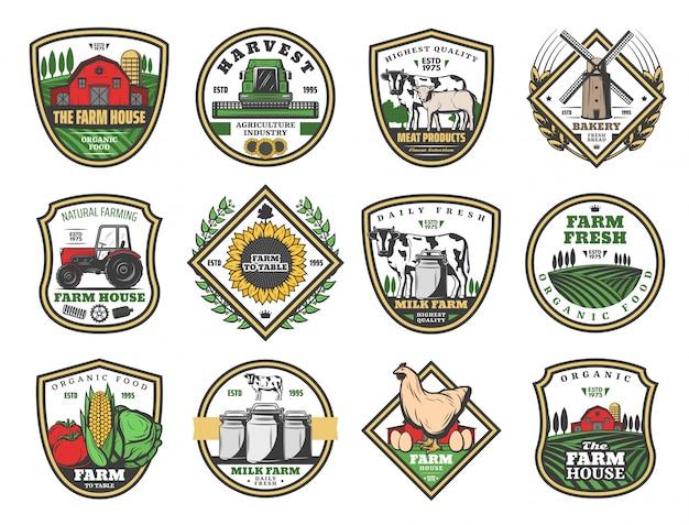 Agriculture Maison De Ferme, Produits Alimentaires Agricoles Vecteur Premium