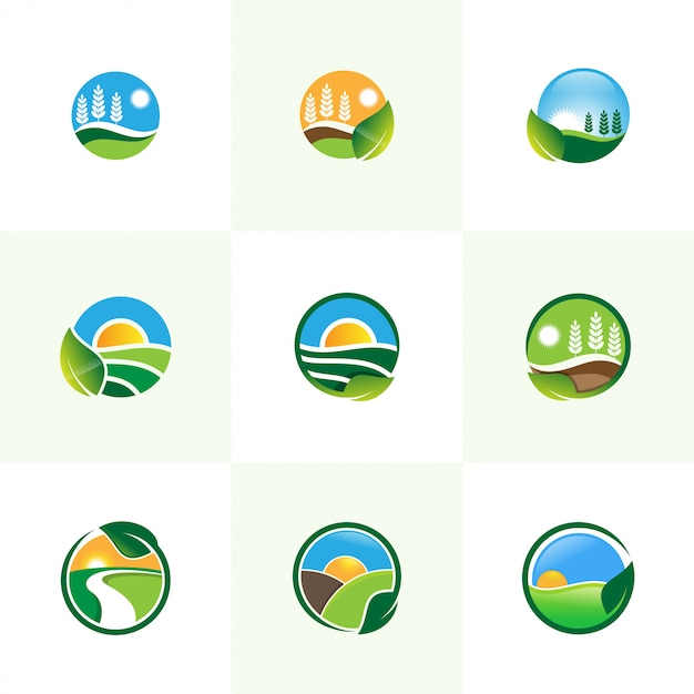 Agriiculture Set Illustration Vectorielle Logo Vecteur Premium