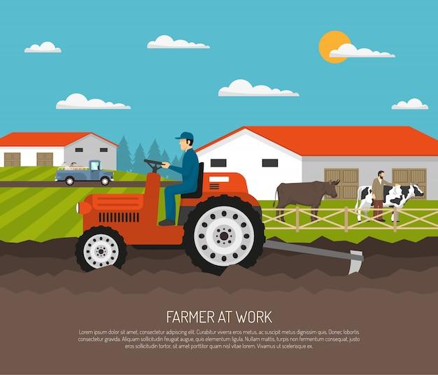 Agrimotor works composition de la ferme Vecteur gratuit