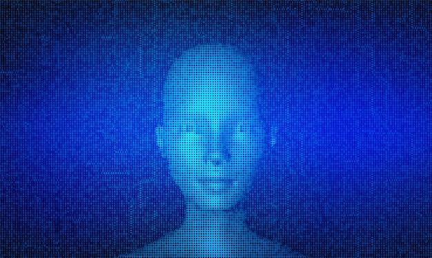 Ai. Concept D'intelligence Artificielle. Abstrait Visage Humain Numérique Fait Avec Fond De Code Numérique Binaire De Matrice De Streaming. Vecteur Premium