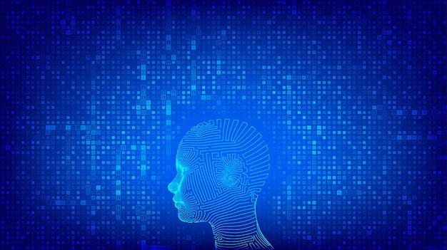 Ai. Concept D'intelligence Artificielle. Tête Humaine Numérique Abstraite Filaire Sur Fond De Code Binaire. Vecteur Premium