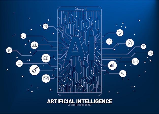 Ai dans le téléphone mobile avec graphique de ligne de circuit. concept de télécommunication mobile avec apprentissage automatique. intelligence artificielle Vecteur Premium