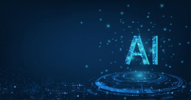 Ai (intelligence Artificielle) Avec La Conception Du Circuit. Vecteur Premium
