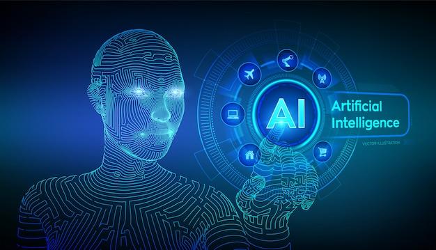 Ai. intelligence artificielle. main de cyborg féminine filaire touchant l'interface graphique numérique. Vecteur Premium