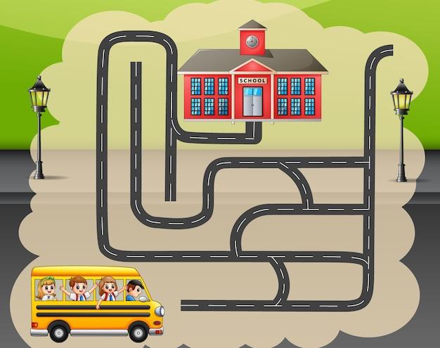 Aide le bus scolaire à trouver le chemin de l'école Vecteur Premium