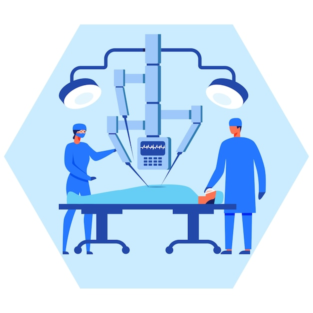 Aide infirmière et chirurgien à l'aide d'un robot Vecteur Premium
