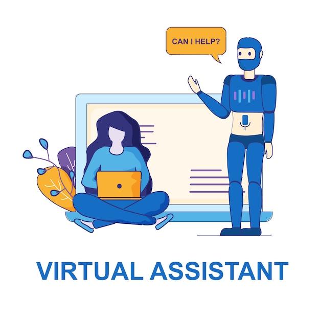 Aide personnelle de virtual assistant. Vecteur Premium