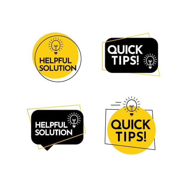 Aide Solution Complète, Conseils Rapides Texte étiquette Vecteur Modèle Design Illustration Vecteur Premium