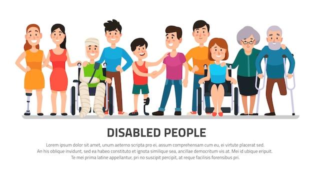 Aider La Personne Handicapée Vecteur Premium