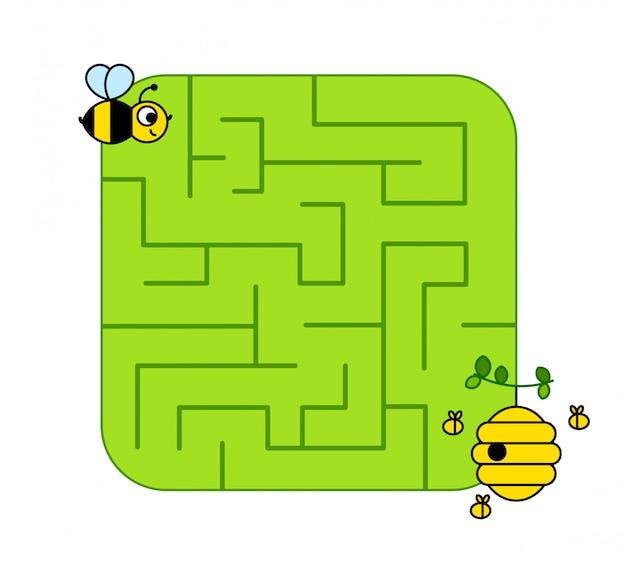 Aidez Le Bébé Abeille à Trouver Le Chemin De La Ruche. Labyrinthe. Jeu De Labyrinthe Pour Les Enfants. Puzzle. Vecteur Premium