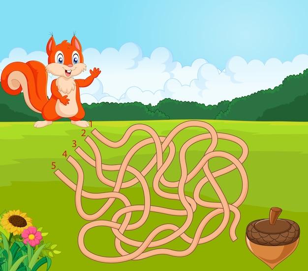Aidez l'écureuil à trouver le chemin de la pomme de pin dans le jeu de labyrinthe Vecteur Premium