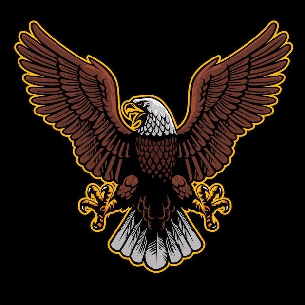 Un aigle en colère déploie les ailes Vecteur Premium