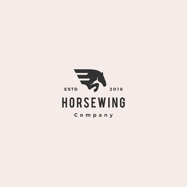 Aile De Cheval Hipster Avec Logo Pegasus Vecteur Premium