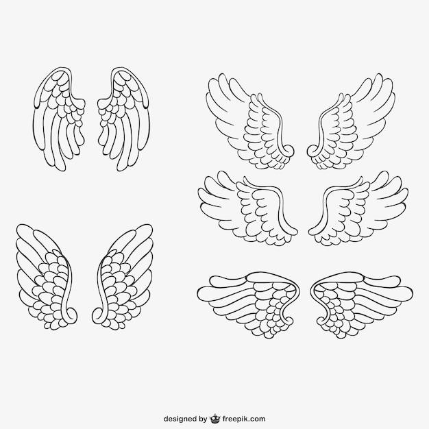 Ailes d 39 ange vecteurs dessin s la main t l charger des for Tableau aile d ange