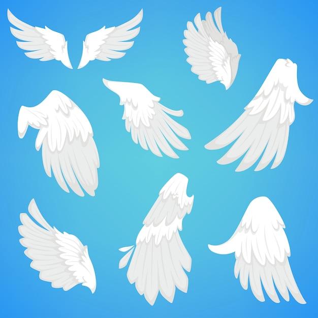 Ailes vectorielles des icônes de plumes d'oiseaux blancs Vecteur Premium
