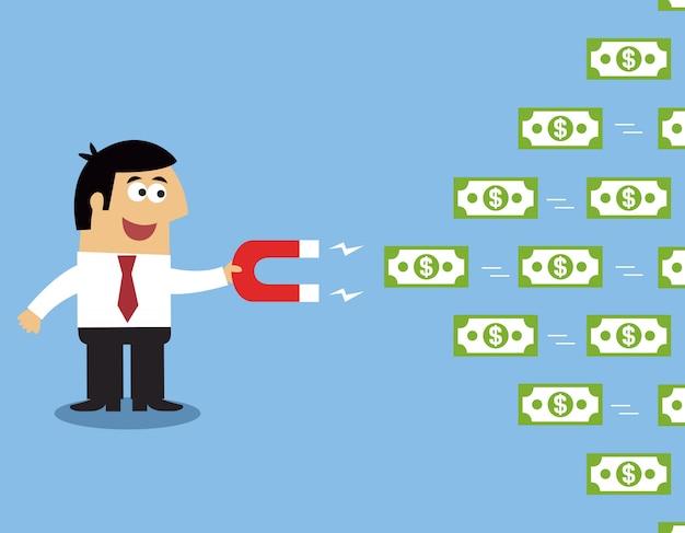 Aimant de l'argent des employés Vecteur Premium