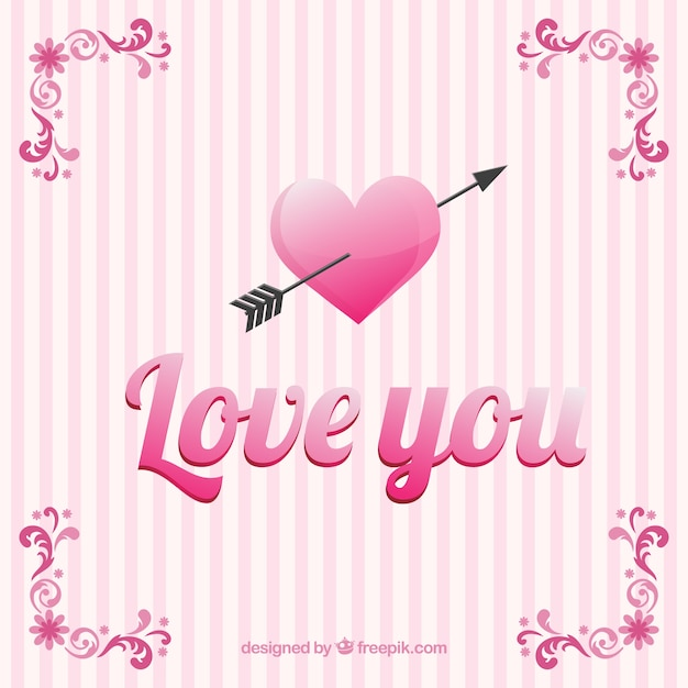 Aimez-vous carte avec stries roses Vecteur gratuit
