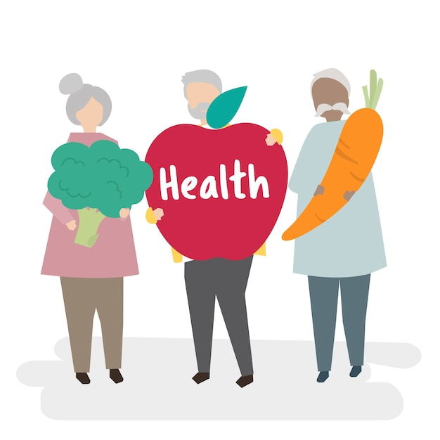 Des aînés illustrés se concentrant sur la santé Vecteur gratuit
