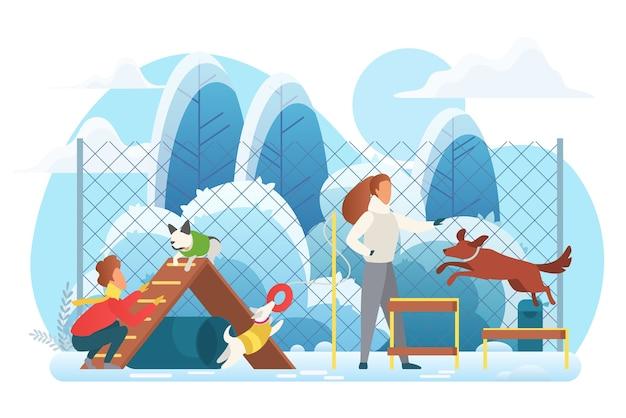 Aire De Jeux Pour Chiens Dans Le Parc D'hiver Vecteur Premium
