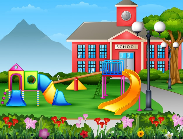 Aire De Jeux Pour Enfants Dans La Cour De L'école Vecteur Premium