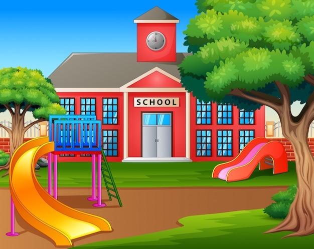 Aire De Jeux Pour Enfants En Face De La Cour De L'école Vecteur Premium