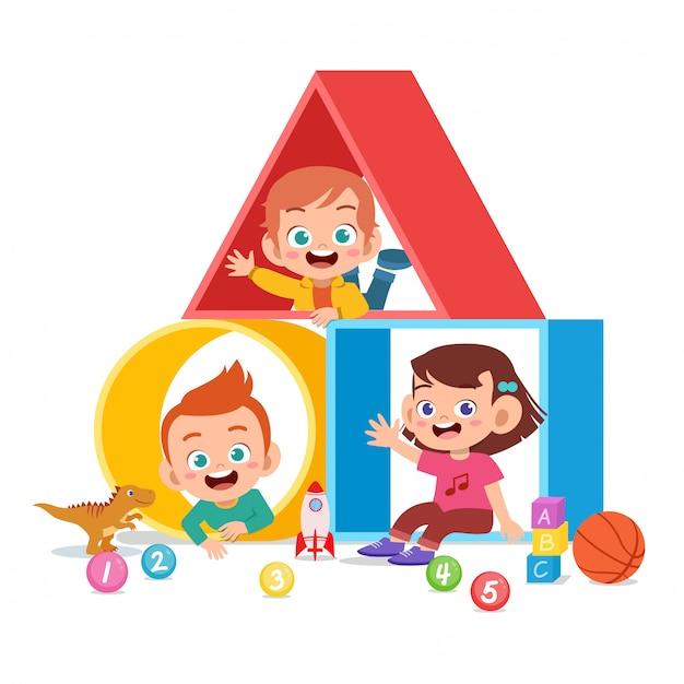 Aire de jeux pour enfants avec plusieurs formes Vecteur Premium