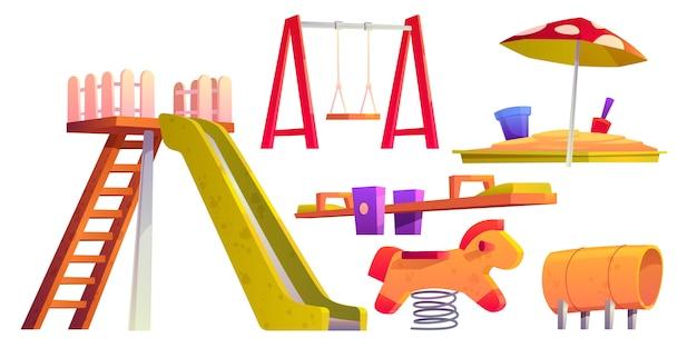 Aire De Jeux Pour Enfants Avec Toboggan, Bac à Sable Et Balançoire Vecteur gratuit