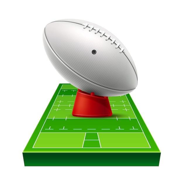 Aire De Jeux De Rugby Réaliste De Vecteur Avec Ballon En Cuir Sur Terrain D'herbe Verte. Vecteur Premium