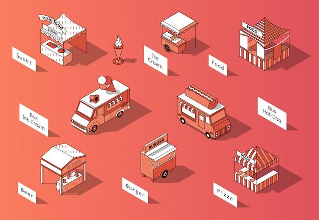 Aires De Restauration 3d Isométriques, Camions - Marketplace Vecteur gratuit