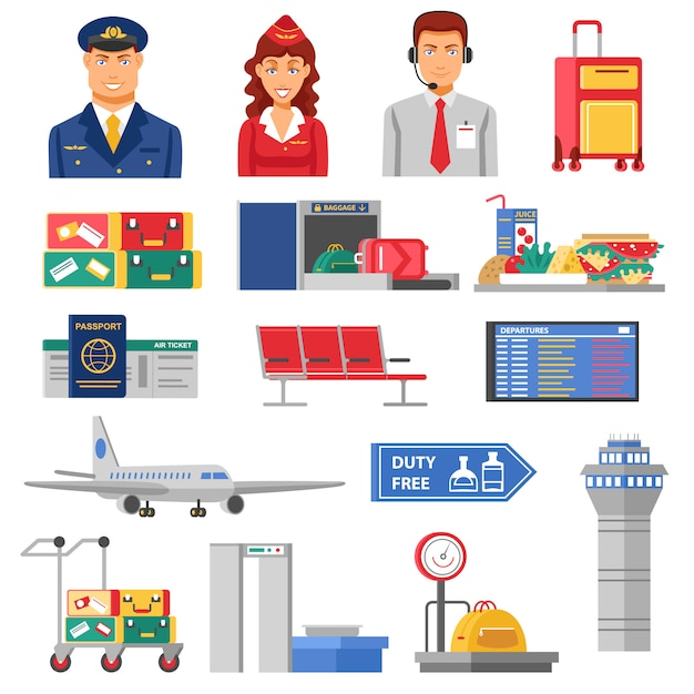 Airport icon set Vecteur gratuit
