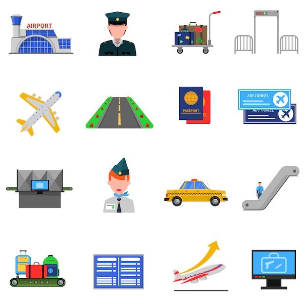 Airport icons set Vecteur gratuit