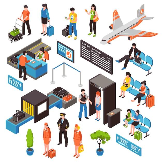Airport isometric icons set Vecteur gratuit